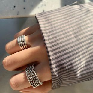 Chain twist ring stripe ring female opening adjustable retro ring tail ring NHYQ187565's discount tags