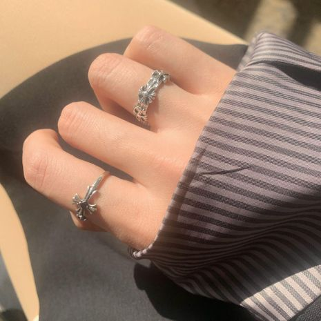 Retro personality wild double cross joint ring hollow opening ring tail ring  NHYQ187566's discount tags