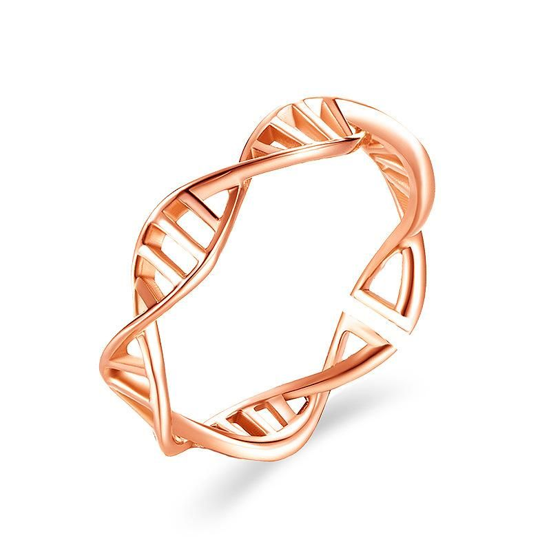 Cross Striped Rose Gold Women's Ring Diamond Fishbone Ring NHDP187613