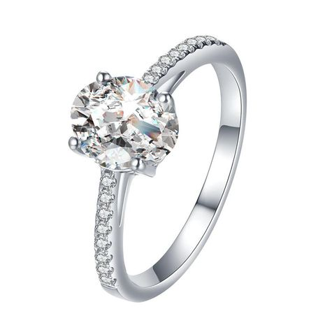 Fashion Zircon Ring Temperament Four Claw Oval Micro Inlaid Zircon Wedding Ring NHDP187630's discount tags