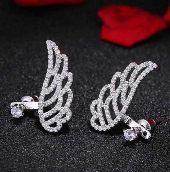 Cubic Zirconia Angel Wing Stud Earrings wholesale fashion jewelry NHSC187684