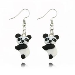 Three-dimensional realistic cute panda handmade soft clay animal earrings NHGY187744