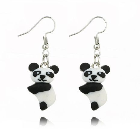 Three-dimensional realistic cute panda handmade soft clay animal earrings NHGY187744's discount tags