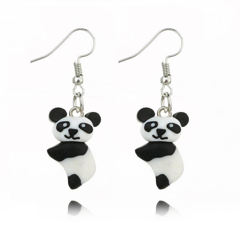 Three-dimensional realistic cute panda handmade soft clay animal earrings NHGY187744
