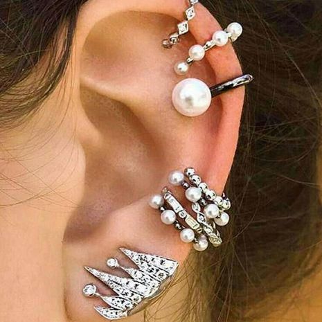 Bohemian pearl personality irregular geometric nine-piece ear clip combination NHGY187745's discount tags