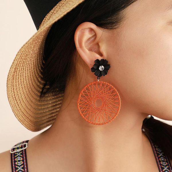 New jewelry pop geometric empty round mesh diamond flower earrings NHGY187746