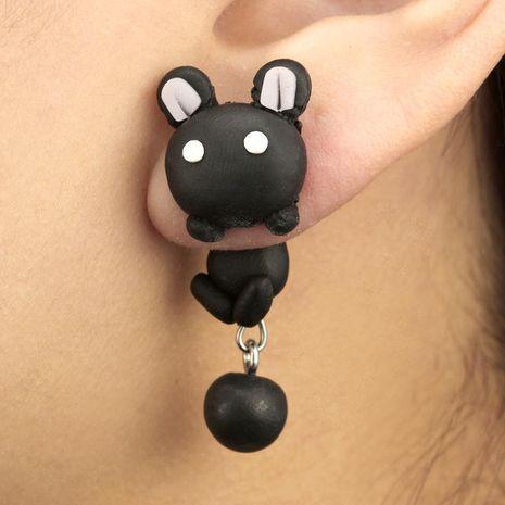 Handmade soft ceramic earrings creative cartoon cute little black rabbit soft ceramic split earrings NHGY187747's discount tags