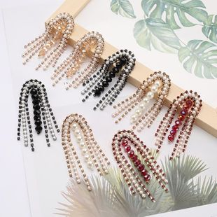 Arched alloy diamond and pearl tassel earrings for women NHJE187752's discount tags