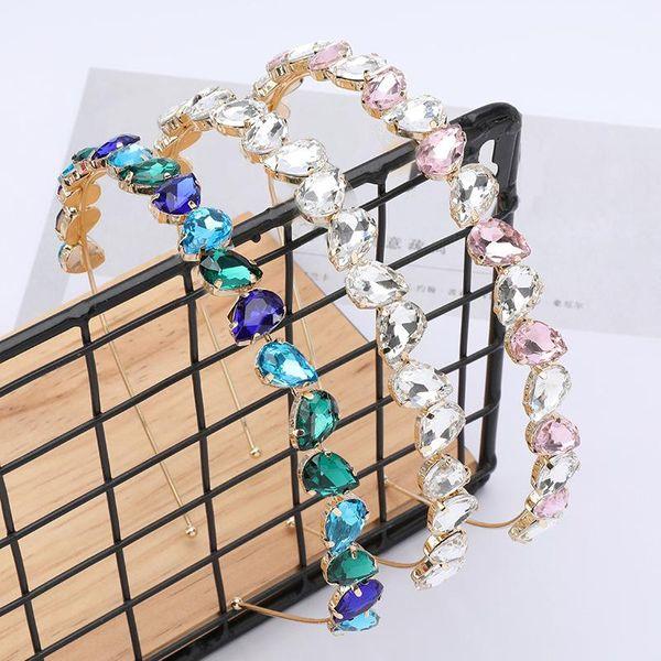 Women's drop-shaped glass diamond alloy diamond headband NHJE187756