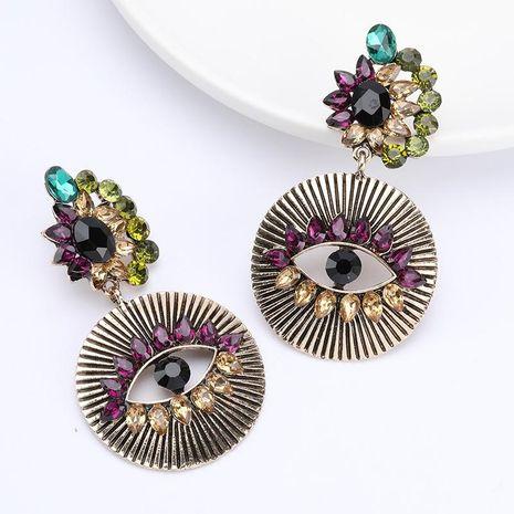Boucles d'oreilles yeux de diamant en alliage rond pour femme NHJE187757's discount tags