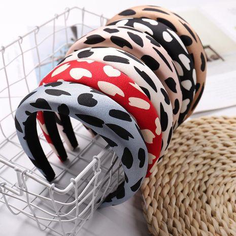 Leopard fabric hair hoop personality wide edge sponge adult headband NHJE187767's discount tags