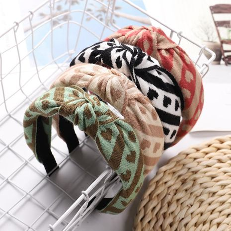 Women's love pattern knitted cotton cloth hair hoop NHJE187769's discount tags