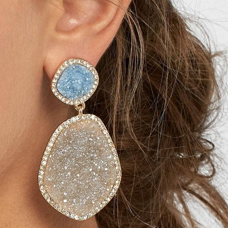 Frosted alloy earrings with diamonds NHJQ187782's discount tags