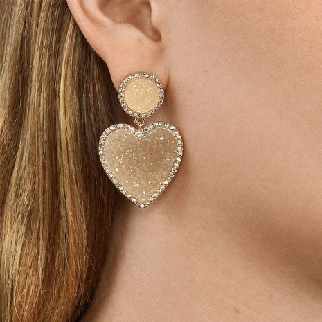 Colorful Heart Earrings with Diamonds NHJQ187786's discount tags