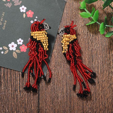 Exaggerated earrings with beaded fringed earrings NHJQ187789's discount tags