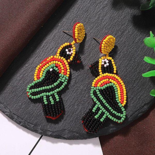 Rice beads beaded bird earrings fashion jewelry accessories spot wholesale NHJQ187794