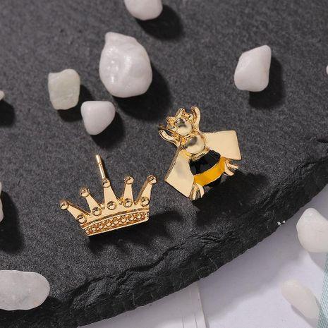 New metal jewelry crown bee asymmetric earrings alloy earrings NHJQ187804's discount tags