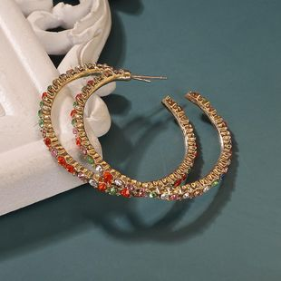 Fashionable C-shaped Earrings with New Alloy Diamond Earrings NHJQ187819's discount tags