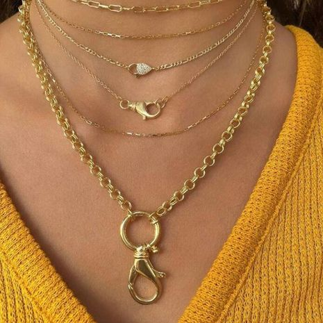 Accessories Metal Keychain Necklace Fashion Multilayer Chain Necklace NHNZ187842's discount tags