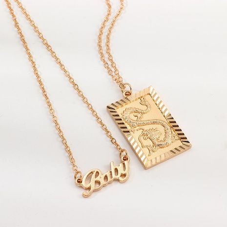 Accessories item retro hip-hop alphabet baby three-dimensional dragon brand necklace NHNZ187846's discount tags