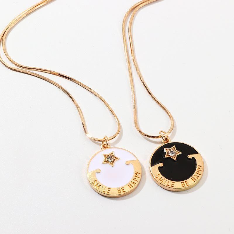 Jewelry Fashion Enamel Drop Oil Round Letter Necklace Pentagram Pendant Pendant NHNZ187847