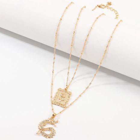 Jewelry Fashion Rose Pendant Diamond Dragon Necklace Set NHNZ187858's discount tags