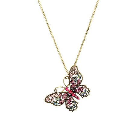 Vintage butterfly diamond pendant necklace female fashion creative detachable brooch accessory NHQD187895's discount tags