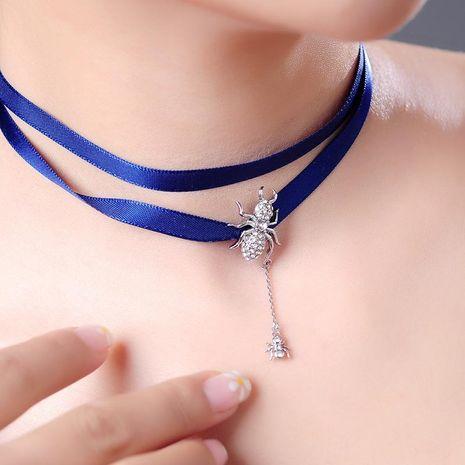 Korean Ribbon Necklace Diamond Choker Collar Female Long Necklace NHQD187914's discount tags