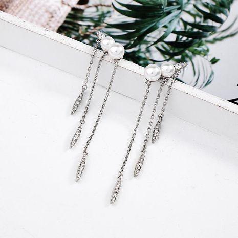 Long pearl tassel diamond earrings earrings female fashion earrings NHQD187915's discount tags