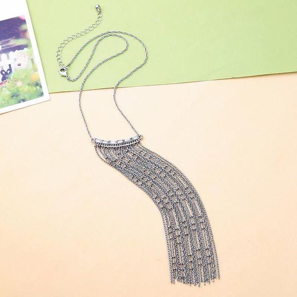 Jewelry diamond long fringed pendant necklace female fashion jewelry NHQD187916