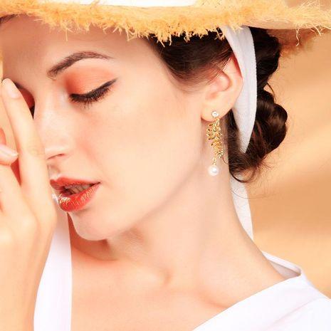 New leaf earrings long pearl earrings female Korean 925 sterling silver earrings NHQD187919's discount tags