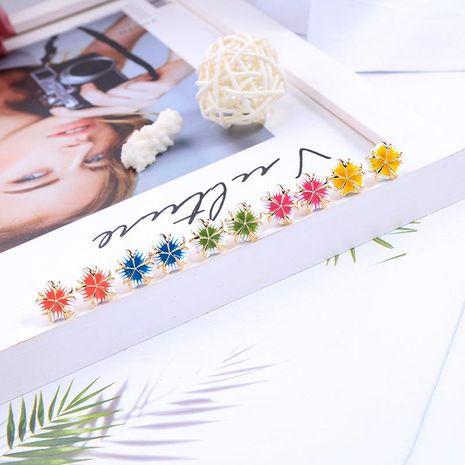 s925 silver pin earrings fashion enamel glaze earrings girl cute macarons flower earrings NHQD187920's discount tags