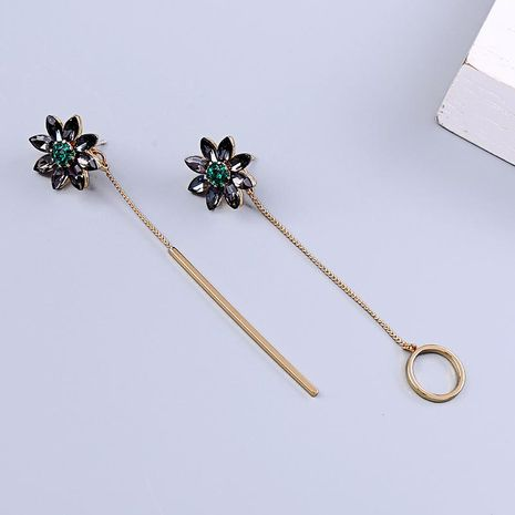 s925 silver asymmetric diamond earrings long circle pendant flower earrings NHQD187922's discount tags