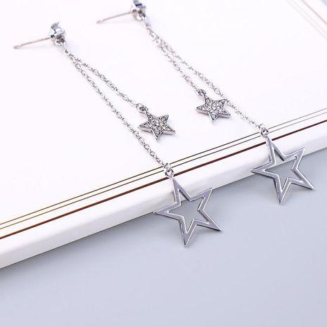 s925 silver needle Korean new diamond earrings long star pendant earrings NHQD187928's discount tags