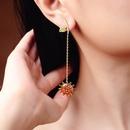 New 925 Sterling Silver Earrings Fashion Diamond Sun Earrings Korean Long Leaf Earrings NHQD187940