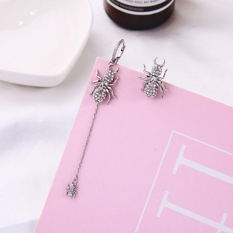 Asymmetric Earrings with Long Spider Earrings and Diamonds in Sterling Silver Studs NHQD187941's discount tags