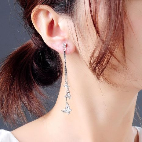 Korean butterfly earrings fashion niche flower earrings long earrings women NHQD187943's discount tags