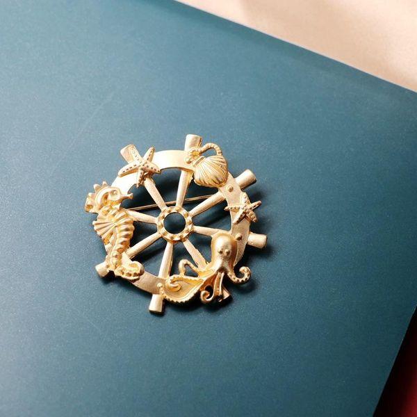 Brooch golden rudder sailing brooch seahorse starfish animal brooch NHOM187957