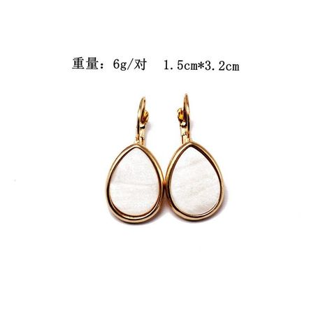 Natural Shell Earrings White Drop Shaped Drop Earrings Alloy Base Shell Earrings NHOM187960's discount tags