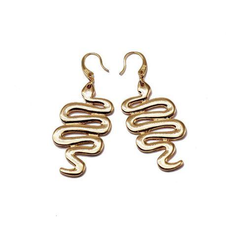 Metal Animal Pendant Earrings Metal Bent Animal Snake Earrings NHOM187962's discount tags