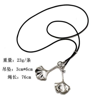 Cotton and linen double apricot leaf new double pendant apricot leaf necklace adjustable long chain NHOM187964's discount tags