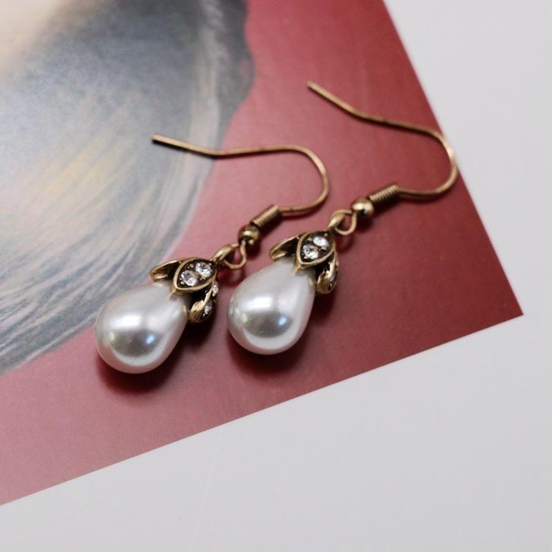 Vintage Imitation Pearl Drop Drop Earrings NHOM187972