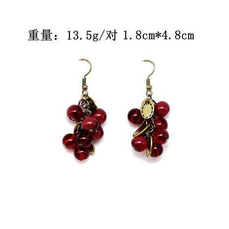 Garnet Bead Earrings Vintage Wild Leaf Earrings Red Earrings NHOM187974's discount tags