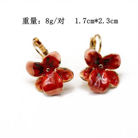 Flower earrings ear clip enamel glazed ear clip NHOM187975's discount tags