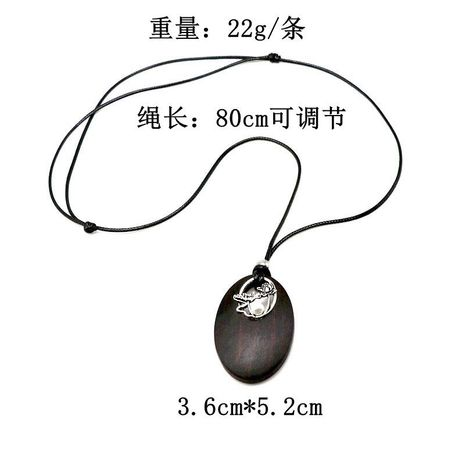 New cotton linen sandalwood necklace oval pearl pendant adjustable retro pendant sweater chain NHOM187976's discount tags