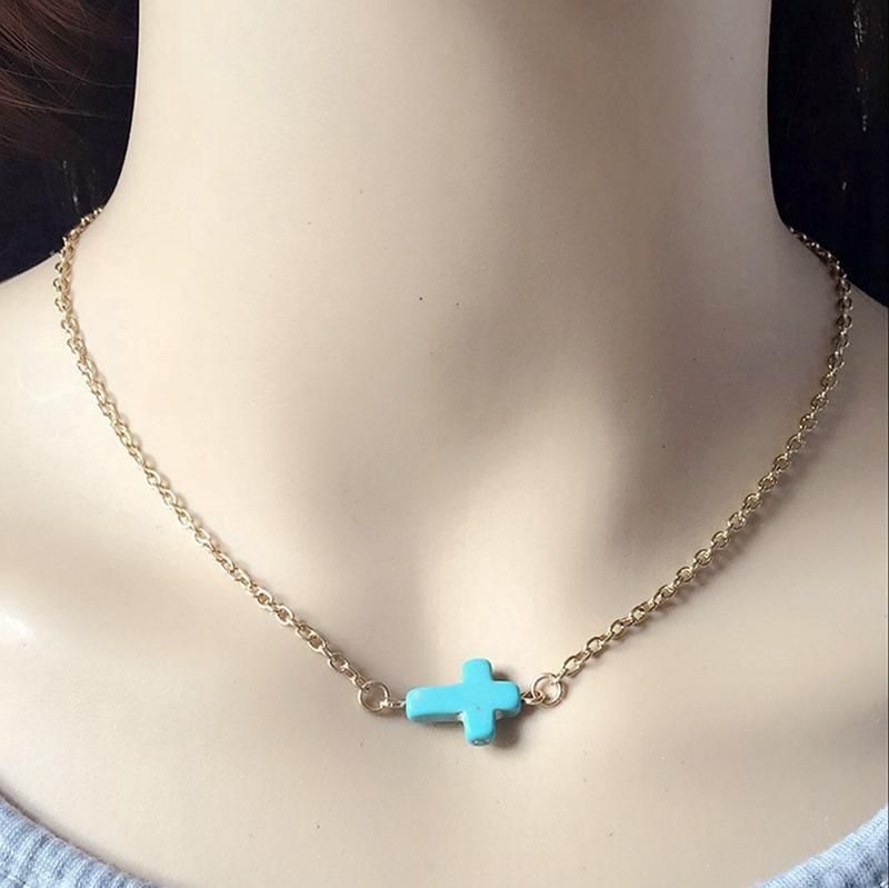 Turquoise necklace necklace cross turquoise chain jewelry wholesale NHOM188006