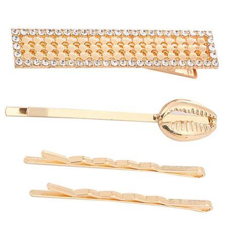 Simple alloy geometric diamond hair clip conch clip set NHHN188037's discount tags
