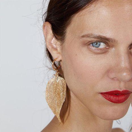 New retro earrings fashion long hollow leaf earrings women NHPJ188042's discount tags