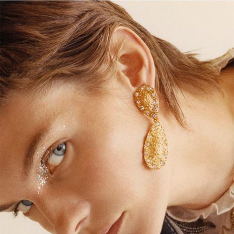 New Gold Alloy Diamond Earrings Creative Retro Drop Shaped Gift Earrings NHPJ188043's discount tags