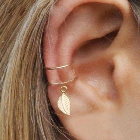 Leaf ear clip retro simple C-shaped cartilage clip fashion ear clip wholesale NHPJ188049's discount tags